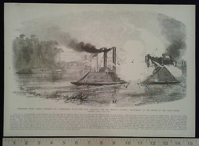 1896 Civil War Print - Iron-plated Naval Battle - James Island, SC