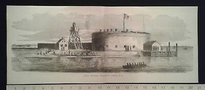 1885 Civil War Print - Castle Pinkney, Charleston Harbor, SC