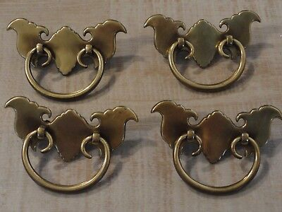 N7155 Lot of 4 Vintage Early American Style Drawer Pulls Handles Brass