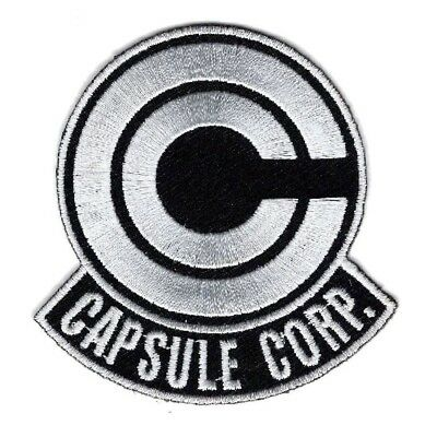 Capsule Corp. Dragon Ball Z Embroidered Iron On Patch (White/Black 3.0 inch)