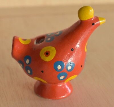 Vintage Ceramic Small Bird Whistle Figurine Vibrant Colors Hand Made Finland