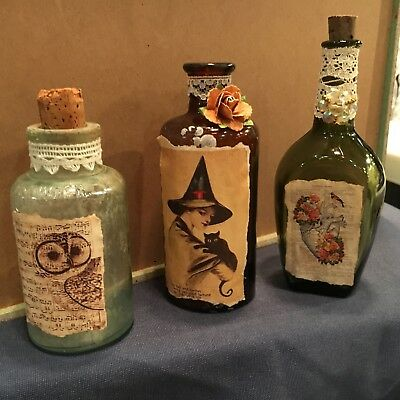 "Antique Bottles Owl Witch Heart Decorations Vintage 6-8"" Tall Lot Of 3 Halloween"