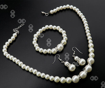 Wedding Bride Bridesmaid Pearl Rhinestone Pendent Necklace Earrings Jewelry Set