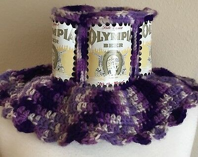Vintage Olympia Beer Can Crocheted Handmade Hat Purple White