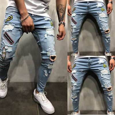 Men's Ripped Skinny Biker Jeans Destroyed Frayed Slim Fit Denim Pants Trousers