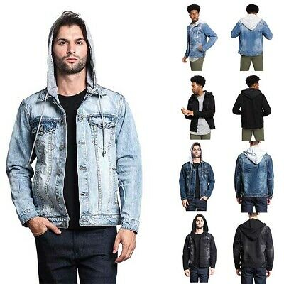 f196cc9b7b7 Victorious Men s Distressed with Removable Hoody Wash Denim Jacket DK109  -EE1F