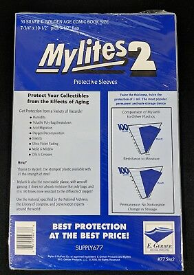 50 E. Gerber Mylites 2 Mil Mylar Silver & Golden Age Comic Book Sleeves 775M2