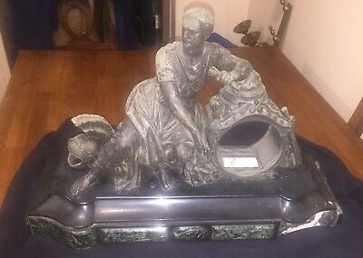 Antique Cast Metal/spelter Marble Figural Mantle Clock Casing (As Is! No Clock!)