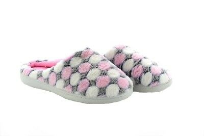 Ladies Fleece Lined Memory Foam Slippers Mules Clogs With Pink Polka Dot