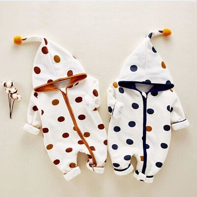 UK Newborn Baby Boy Girl Zipper Hooded Romper Bodysuit Jumpsuit Clothes Outfits