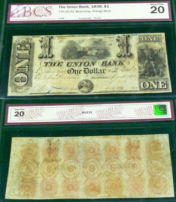 CANADA, 1838 $1 UNION BANK - DUDLEY BEAN signature - ONE OF THE BEST ANYWHERE