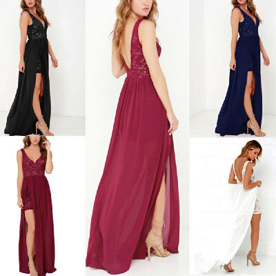 9b8474fa4d Women Vintage Lace Long Maxi Dress Cocktail Evening Wedding Party Formal  Dresses