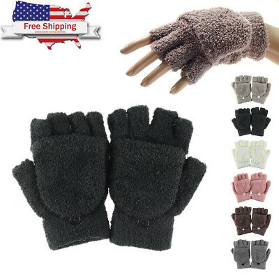 US Unisex Winter Warm Flip Fingerless Half Finger Mittens Knitted Wrist Gloves