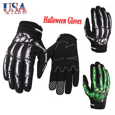 US Outdoors Men Cycling Motorcycle Gloves Skeleton Skull Bone Halloween Gloves
