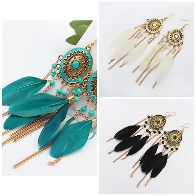 Boho/tribal style dangle earrings with gold chain tassels & feathers UK seller