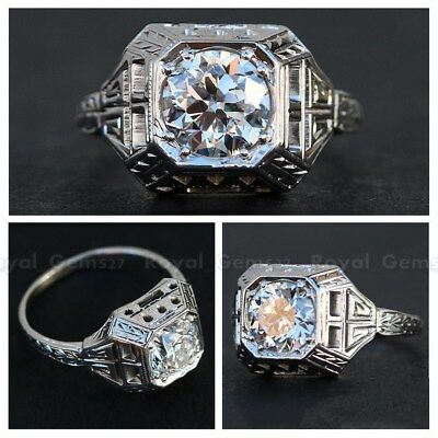 Unique Art Deco Antique 14K White Gold Over Vintage Engagement Ring Circa 1920