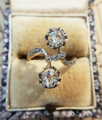 1.00 Ct Art Deco Vintage 14K Gold Over Antique Engagement Ring Old Circa 1925's