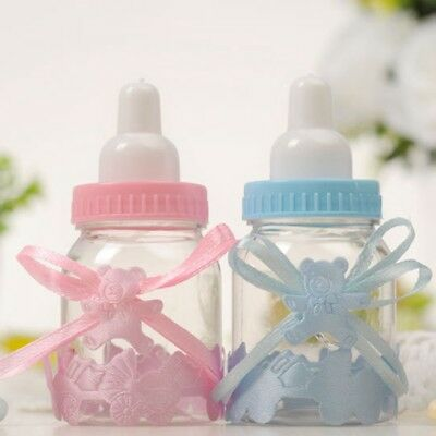24 Fillable Bottles Candy Box Baby Shower Baptism Christening Party Supplies UK