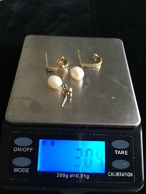 Lot of 2 x Pairs of Vintage 9ct Gold Earrings 3g