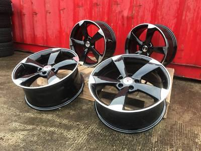 "18"" Alloy Wheels Ttrs Style A3 Black Edition S-Line Fit Audi A3 A4 A6 Caddy"