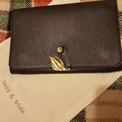 Sass and bide leather clutchBrand new, tags attached Colour blackGold detail