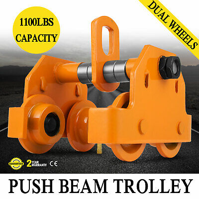 Industrial 1/2 Ton Push Beam Trolley 1102 Lbs WLL with Guard