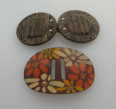 Bakelite Style 2 Part Belt / Sash Clasp / Buckle With Another Plastic Floral One