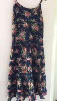 JOE BROWNS NAVY WITH PINK FLORAL PRINT STRAPPY DRESS UK 10 Holiday Casual Smart