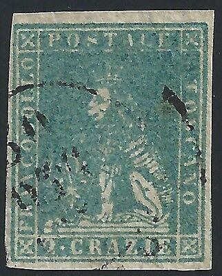 1857 TOSCANA, n° 13a 2 cr. USED They Stamp Bolaffi
