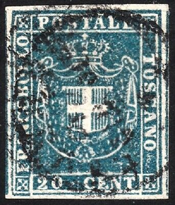 1860 TOSCANA, n° 20 20 cent. blue USED Signed A.Diena