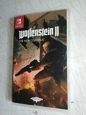 Wolfenstein II 2 The New Colossus Custom Cover/Case Nintendo Switch NO GAME!