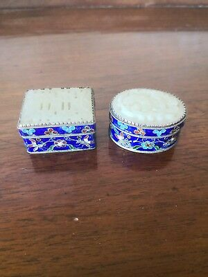 Two Chinese White Metal Enameled And Jade? Lidded Boxes