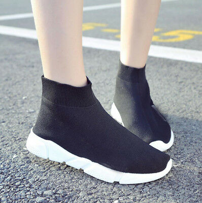 Womens Ladies Girls Knit Sock Sneakers High Top Sports Running Trainers Shoes