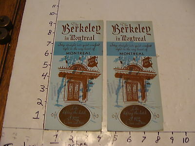 Vintage Travel Paper--CANADA--pair of The Berkeley in Montreal brochure,