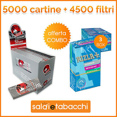 5000 cartine Enjoy Freedom Silver corte +4500 filtri Rizla slim + 2 acc. OMAGGIO