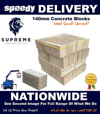 Concrete Block 140mm 7.3N  440x215x140mm Various Quantities (Cheapest on Ebay)