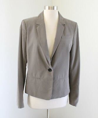 NWT Ann Taylor Loft Brown - Gray Blazer Jacket Size 10 One Button Office