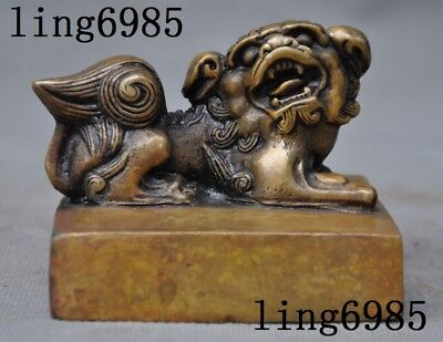 Collect Old Chinese bronze Lion Foo dog beast statue ancient seal Stamp signet