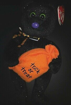 RETIRED TY Original Beanie Baby TRICKSTER the Halloween Bear Plush Toy Bean Bag