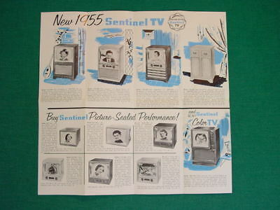 """1954 Sentinel TV Brochure for 1955 Models with Their First Color Set, 19"""" 806-CM"""