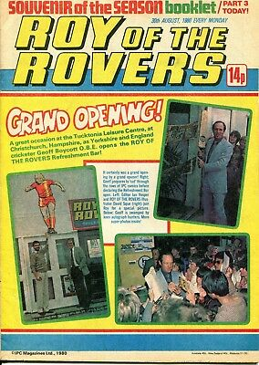 ROY OF THE ROVERS COMIC 30 August 1980 Geoff Boycott Subbuteo Melchester