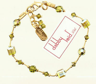 New Dabby Reid 24K Yellow Gold Plate Olive Green Faceted Bead Strand Bracelet