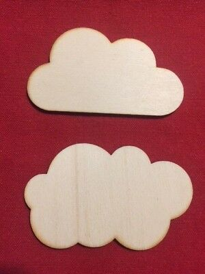 10 Wooden Clouds Variation Sizes Weather  Decoration Plywood Blank Plain