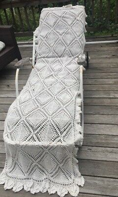 Huge Crochet Knit Lace Runner Antique Victorian Beautiful Cover Lounge Chair