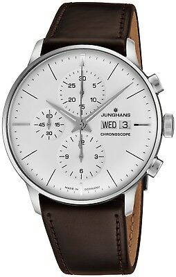 Junghans Men's Meister Chronoscope Leather Strap Self-Winding Watch 027/4120.01
