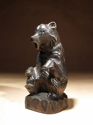 Black Forest Germany Carved Sitting Bear Sculpture.c. 1920-1940
