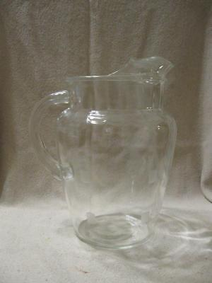 Lovely VTG Clear Glass Frosted Squares Heavy Glass Water ~ Tea ~ Pitcher