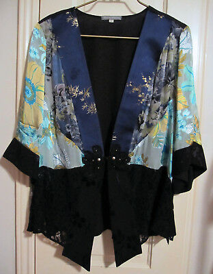 1X Kimono Blouse Silk Tracy Collins Blue Black Gold Green Lace Plus Sz NWOT