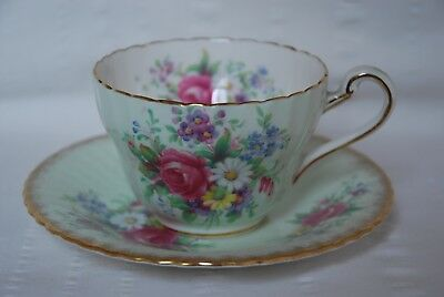 Vintage PARAGON Fine Bone China Tea Cup and Saucer - Pretty florals on Lt. Green