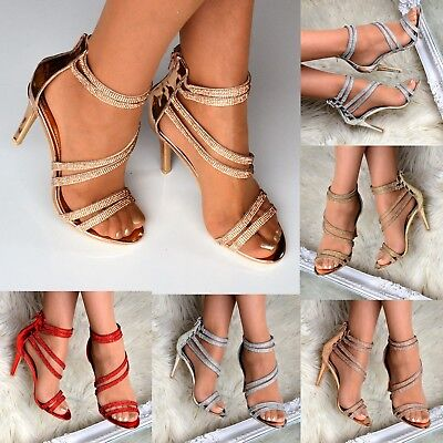 Ladies Diamante Heeled Sandals High Heel Shoes for Women Strappy Stiletto Size